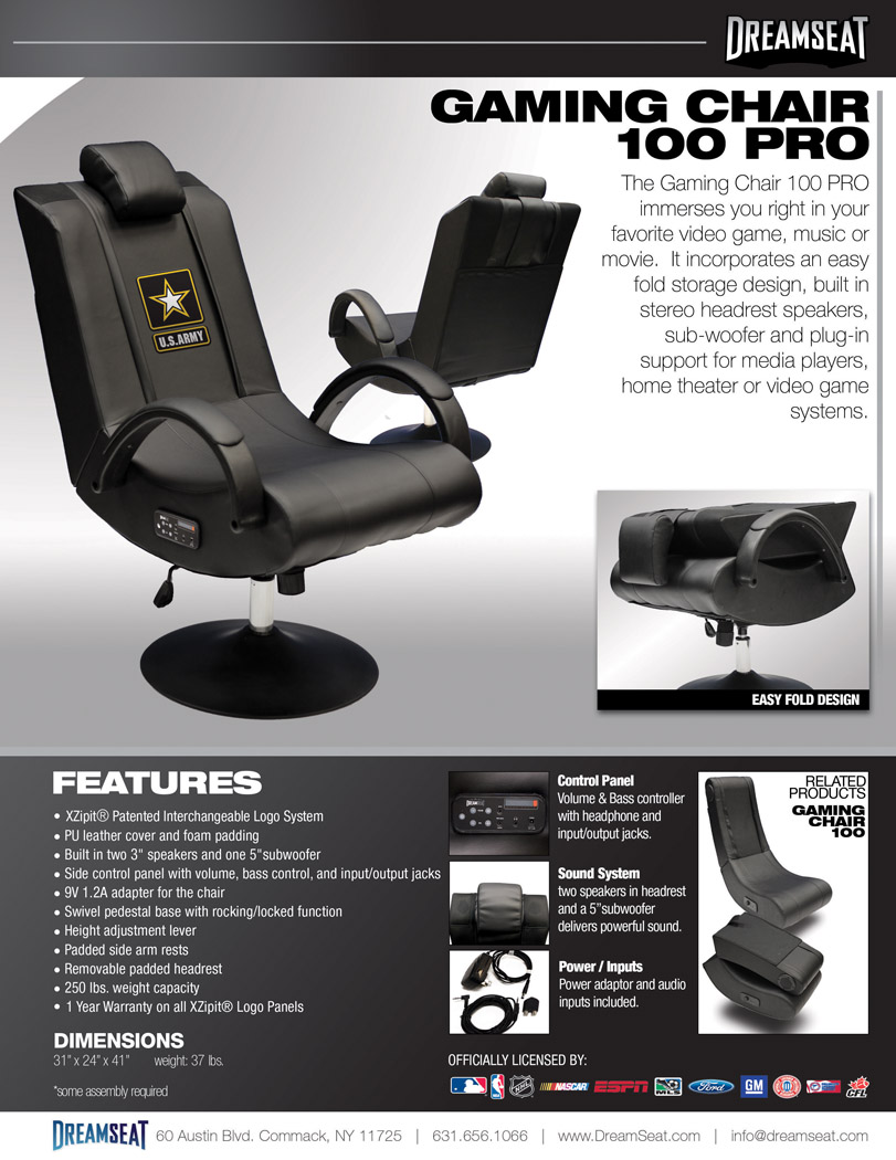 Gaming Chair 100 Pro Custom Furniture Leather Sports