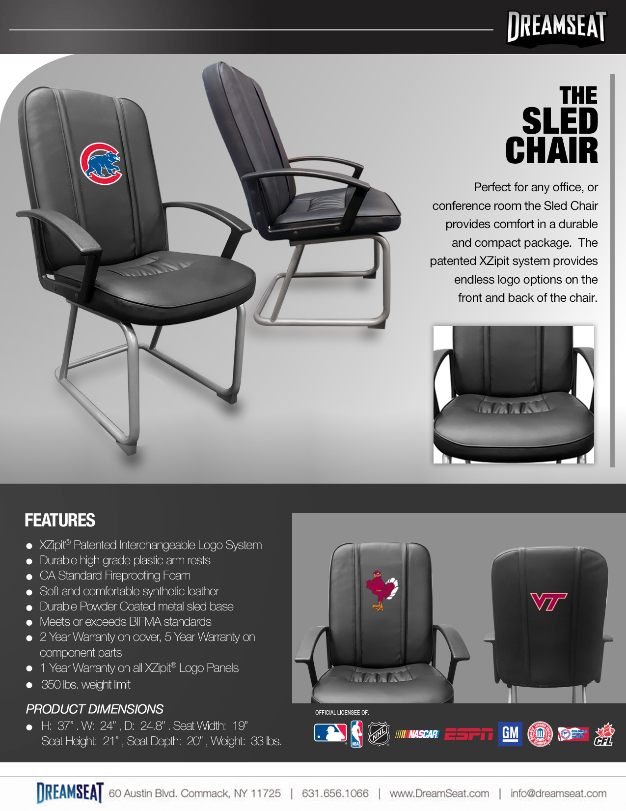 office sled chair custom furniture leather sports furniture